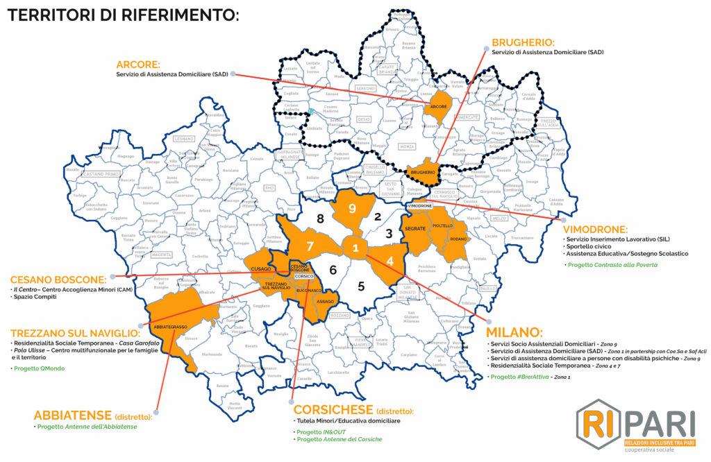 Mappa territori di riferimento di intervento di cooperativa Ripari Milano