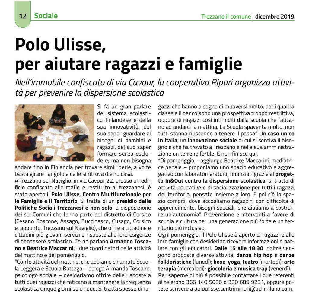 """articolo da """"Trezzano il Comune"""" di presentazione dei servizi del Polo Ulisse Centro Multifunzionale per le Famiglie e il Territorio. Si tratta di un presidio delle Politiche Sociali trezzanesi"""