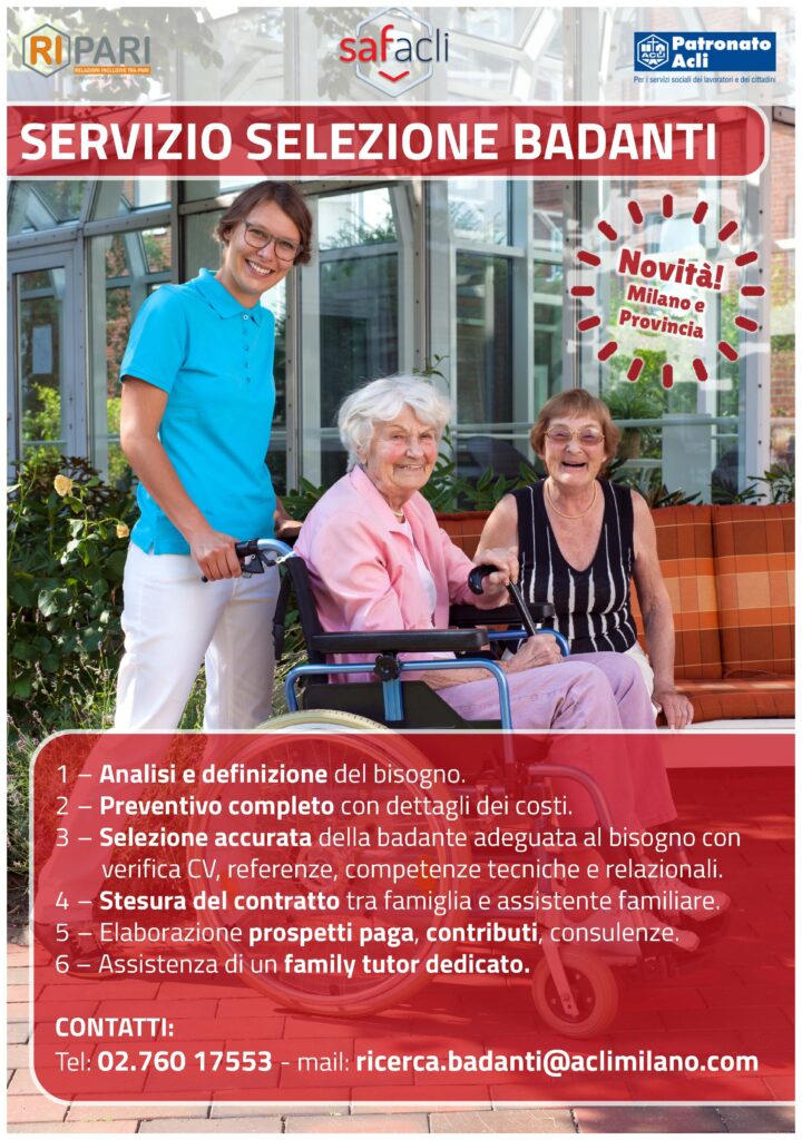 Servizio selezione badanti Acli Milano Cooperativa Ripari - servizio completo: selezione, assunzione e gestione del rapporto lavorativo