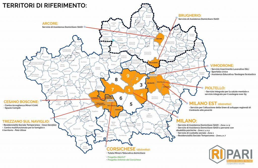 Mappa territori di riferimento cooperativa Ripari Milano
